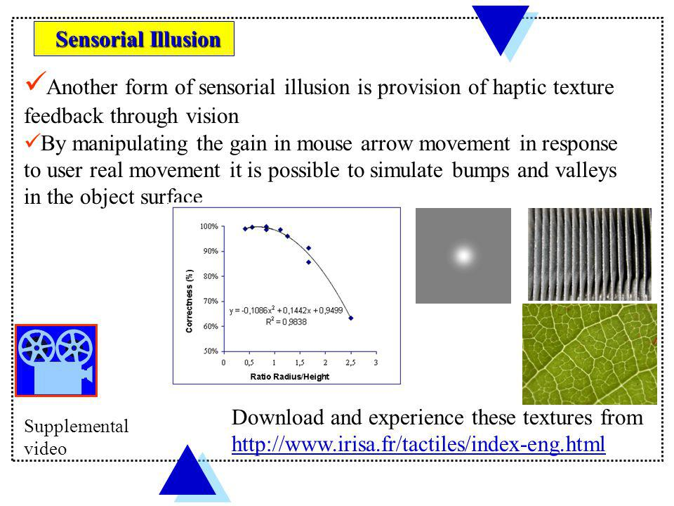 Sensorial Illusion Another form of sensorial illusion is provision of haptic texture feedback through vision.