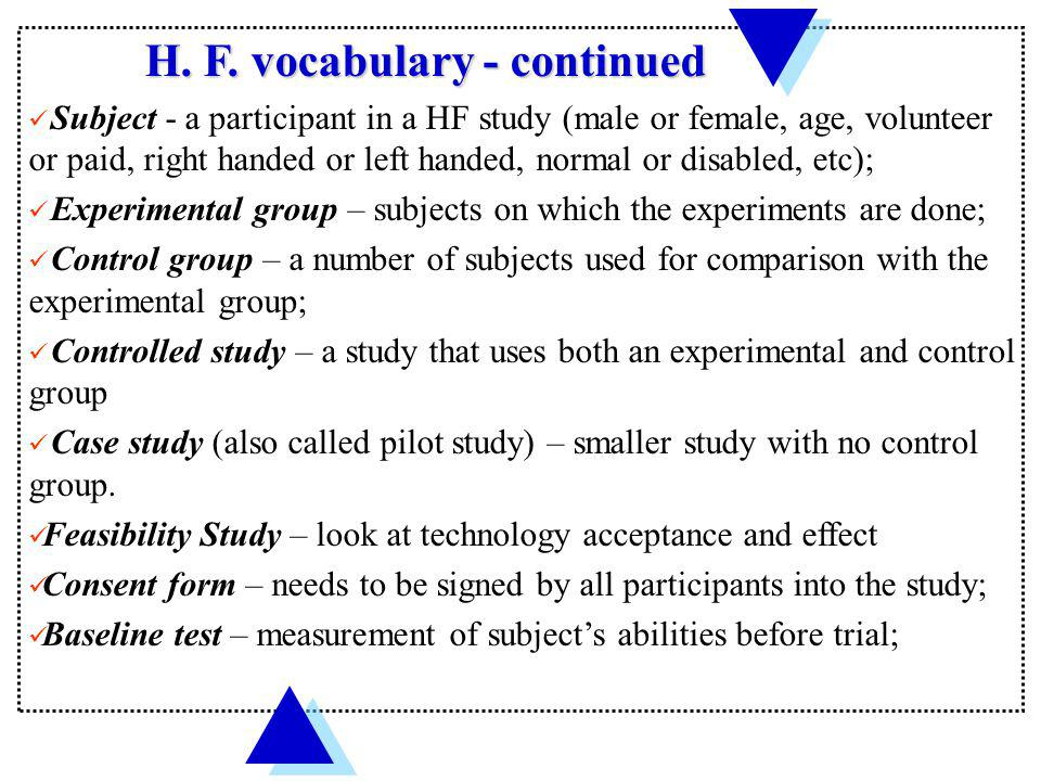 H. F. vocabulary - continued