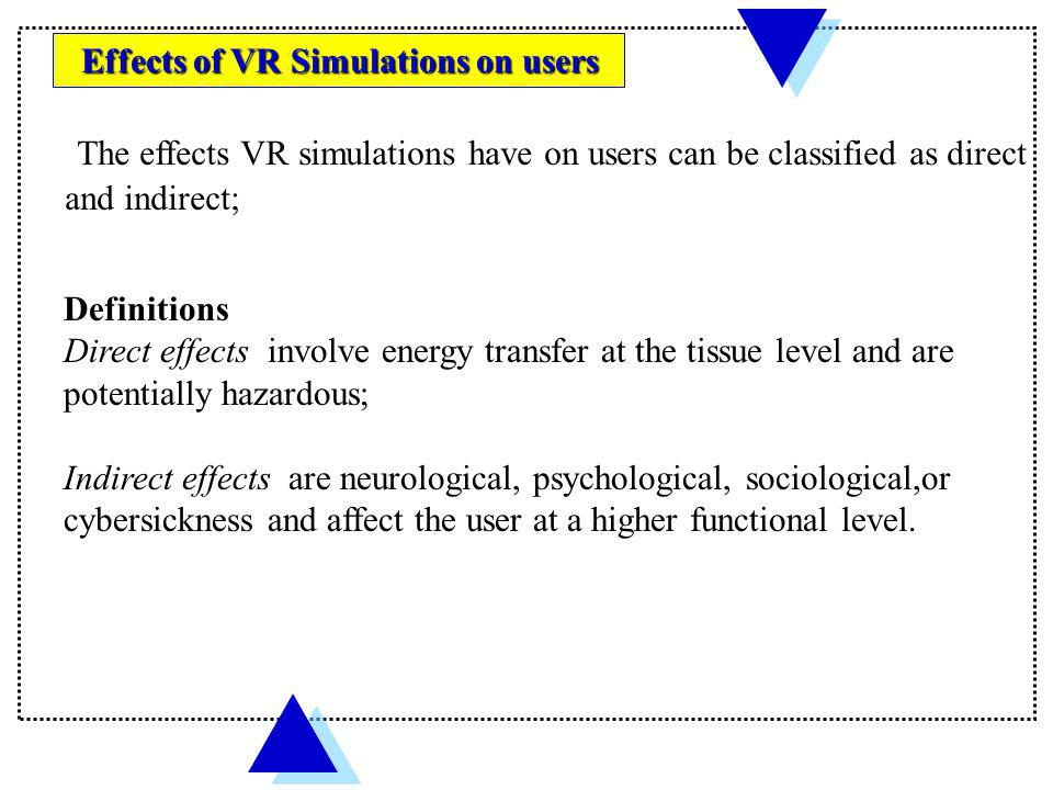 Effects of VR Simulations on users
