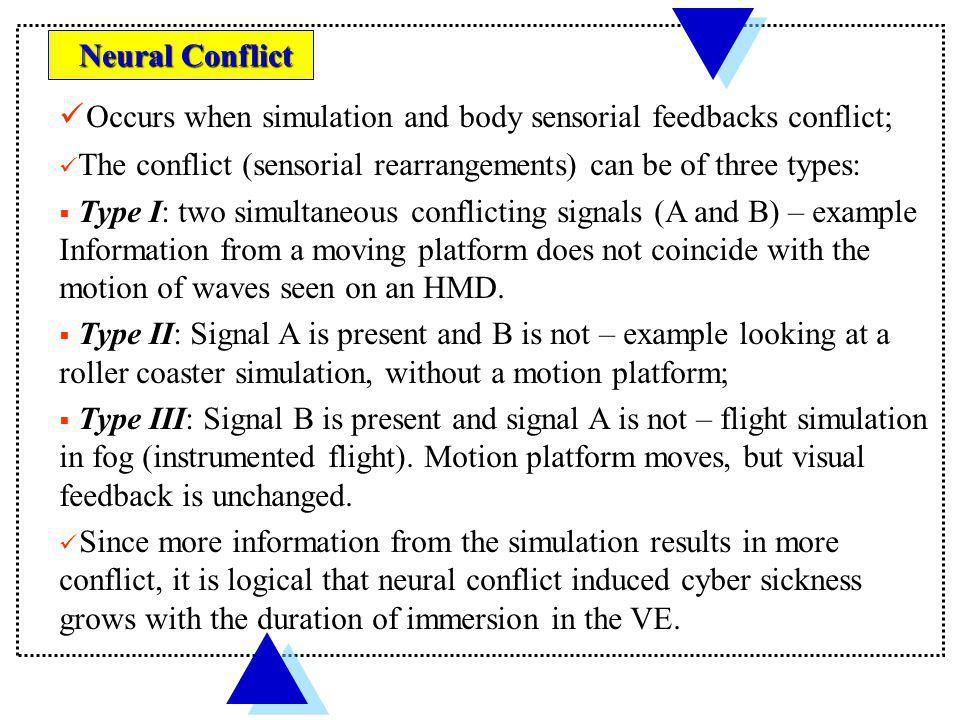 Occurs when simulation and body sensorial feedbacks conflict;