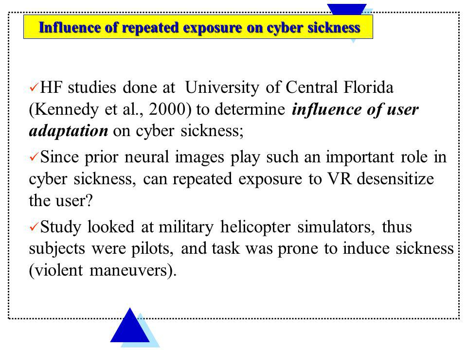 Influence of repeated exposure on cyber sickness