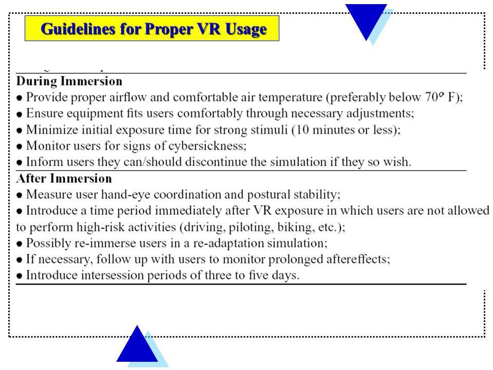 Guidelines for Proper VR Usage