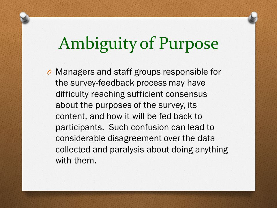 Ambiguity of Purpose