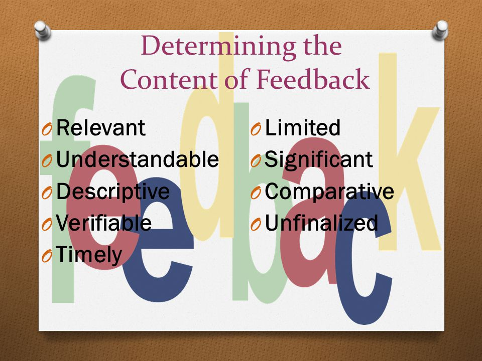 Determining the Content of Feedback