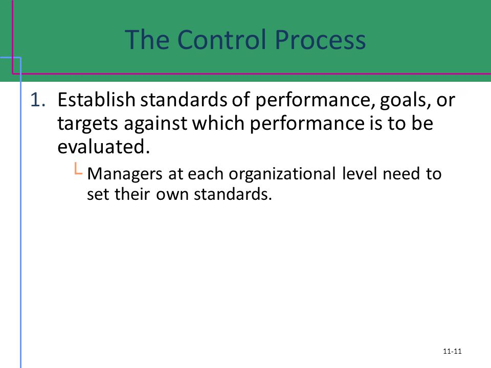 The Control Process Establish standards of performance, goals, or targets against which performance is to be evaluated.