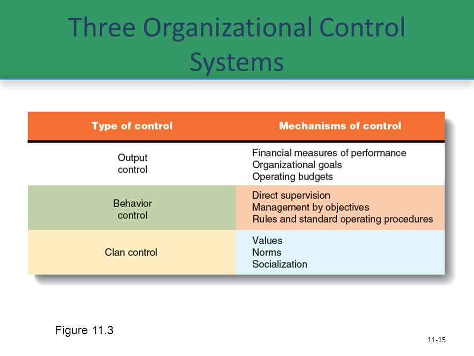 Three Organizational Control Systems