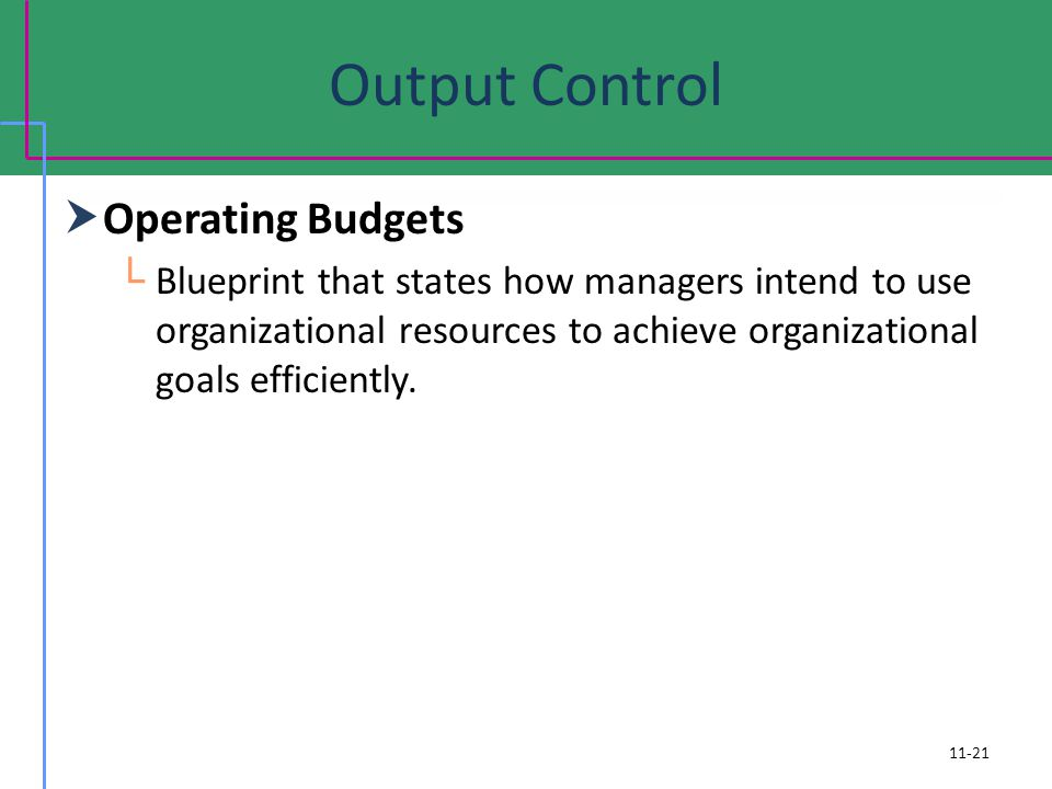 Output Control Operating Budgets
