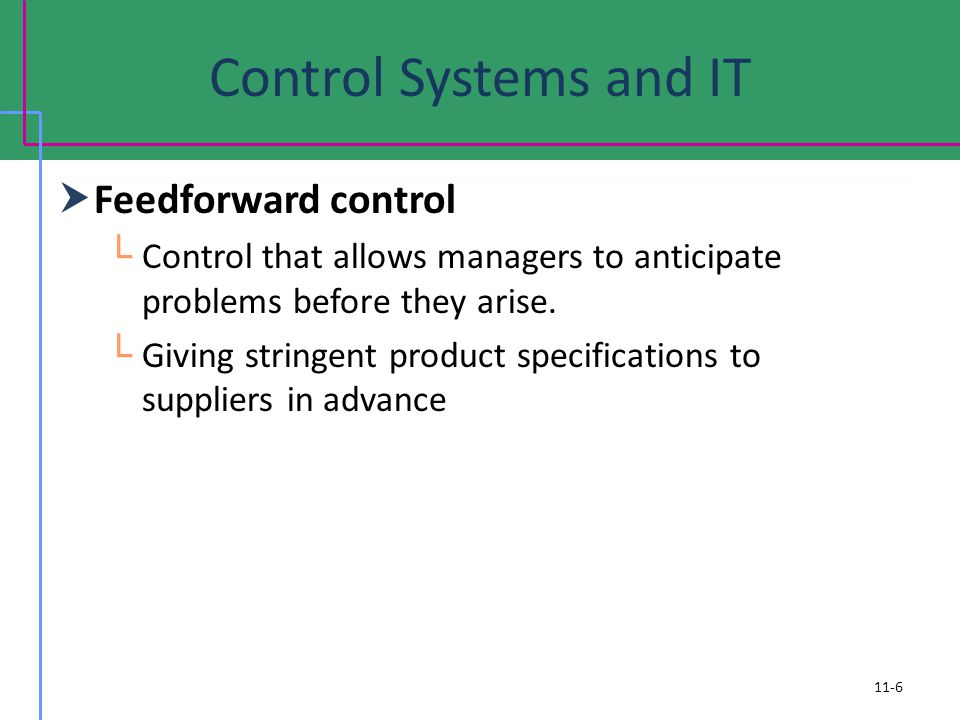 Control Systems and IT Feedforward control