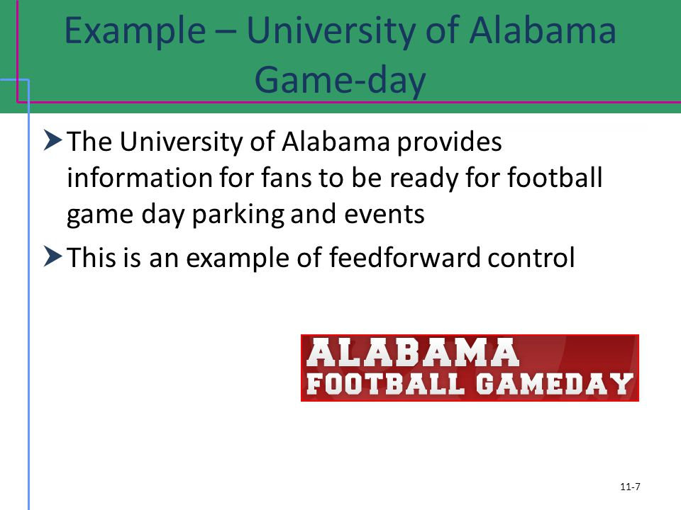 Example – University of Alabama Game-day