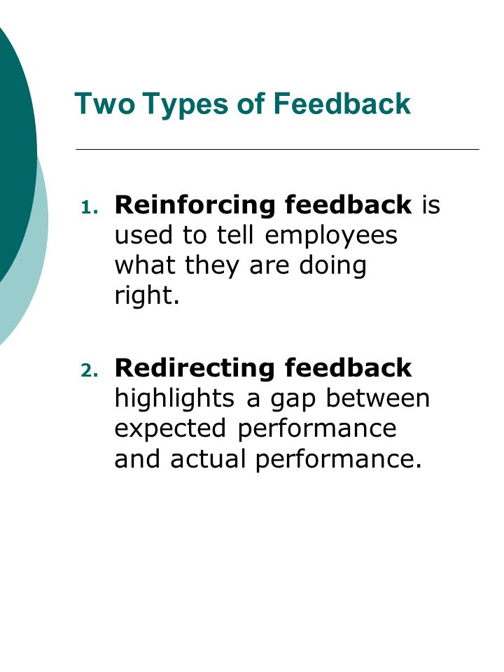 Two Types of Feedback Reinforcing feedback is used to tell employees what they are doing right.