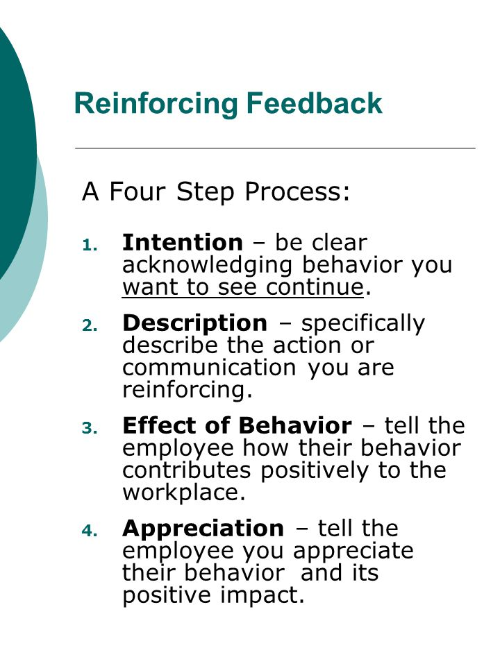 Reinforcing Feedback A Four Step Process: