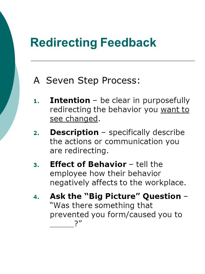 Redirecting Feedback A Seven Step Process: