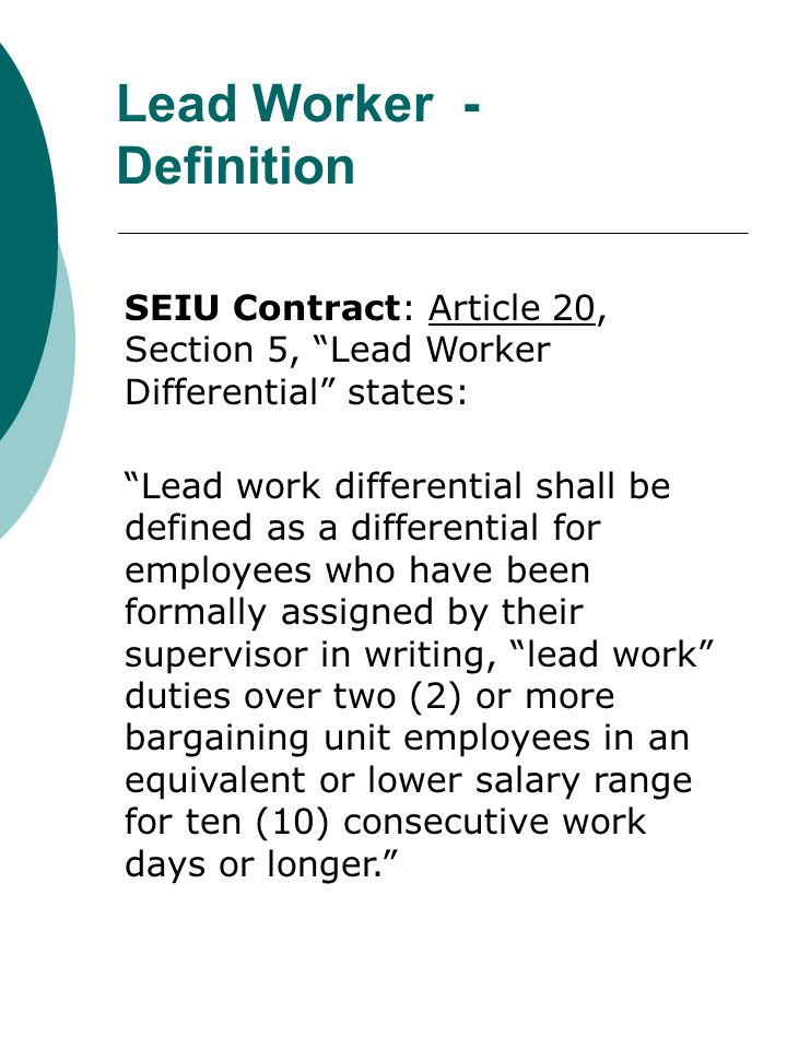 Lead Worker - Definition