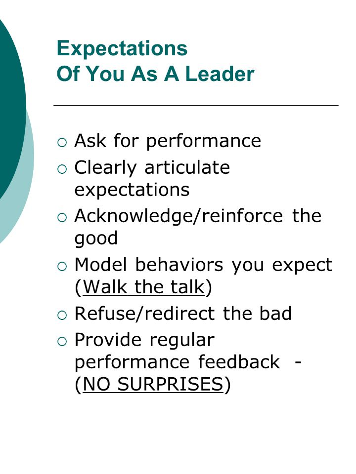 Expectations Of You As A Leader