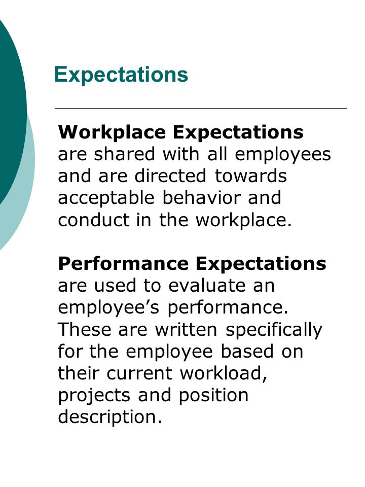 Expectations Workplace Expectations are shared with all employees and are directed towards acceptable behavior and conduct in the workplace.