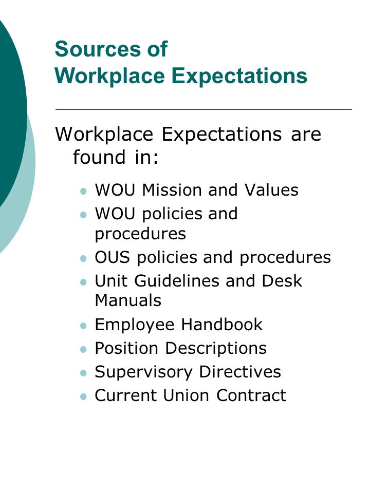 Sources of Workplace Expectations