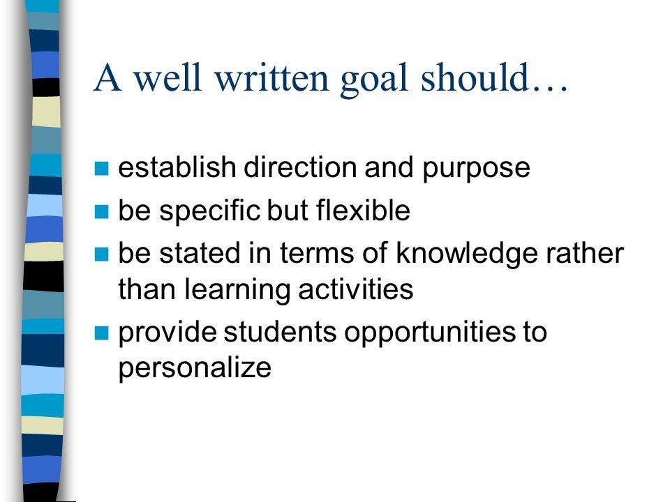 A well written goal should…
