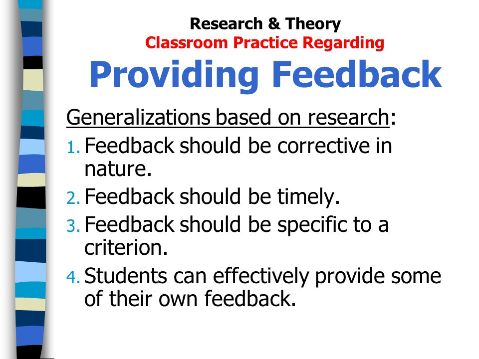 Research & Theory Classroom Practice Regarding Providing Feedback