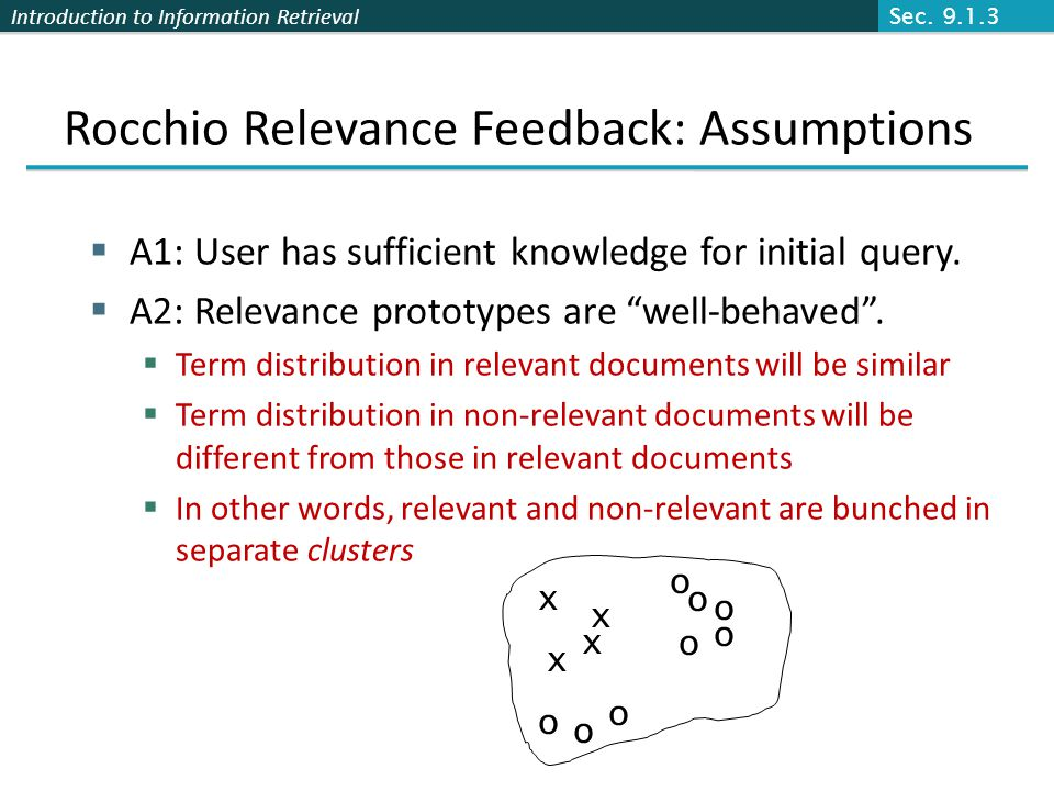 Rocchio Relevance Feedback: Assumptions