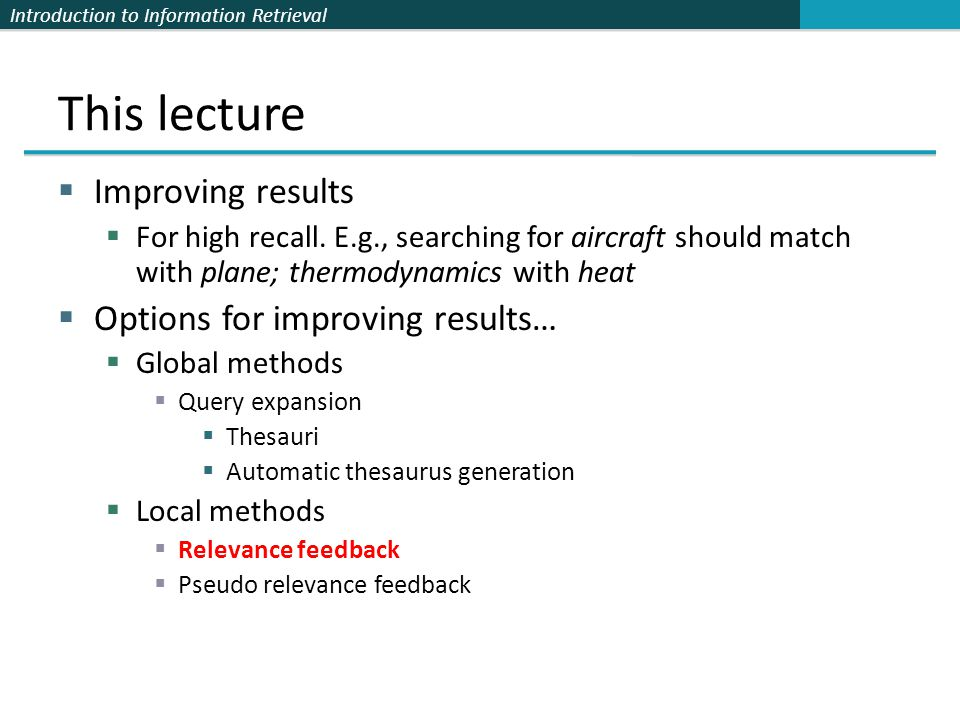 This lecture Improving results Options for improving results…