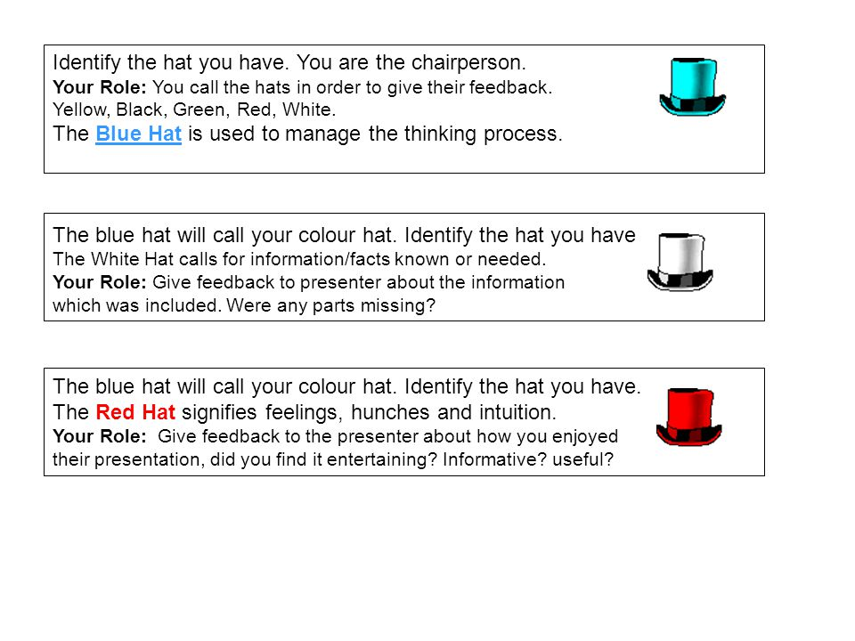 Identify the hat you have. You are the chairperson.