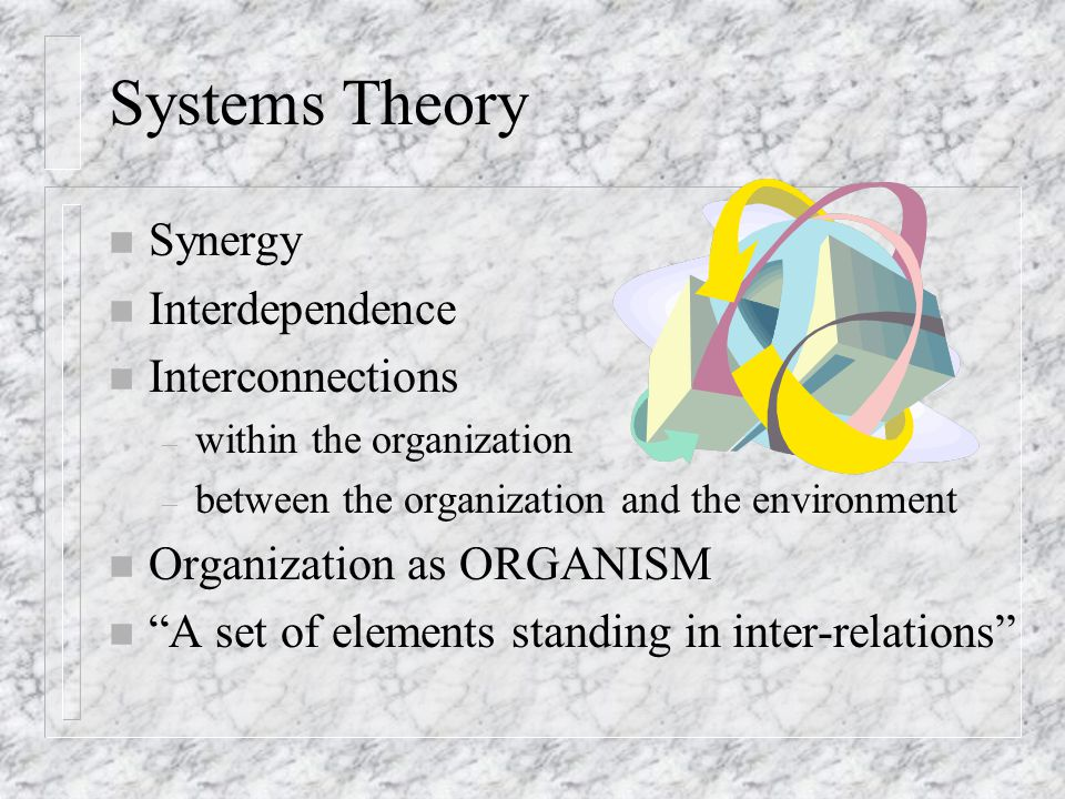 Systems Theory Synergy Interdependence Interconnections
