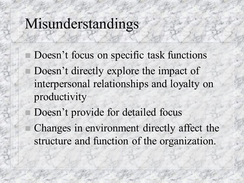 Misunderstandings Doesn't focus on specific task functions