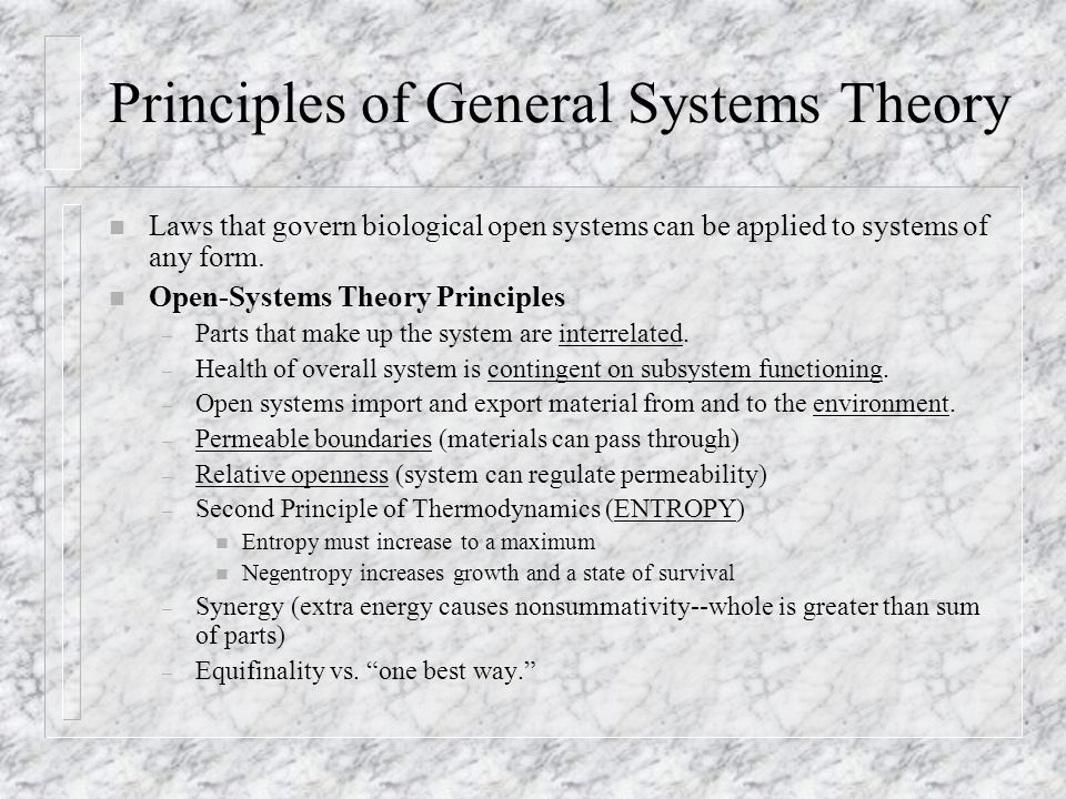 Principles of General Systems Theory