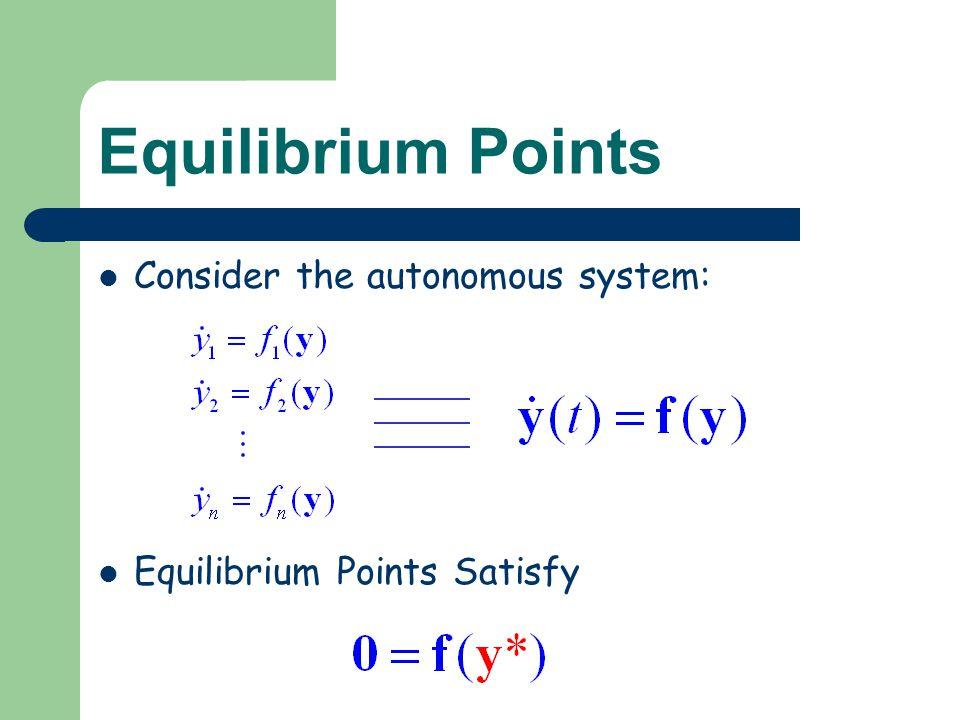 Equilibrium Points Consider the autonomous system: