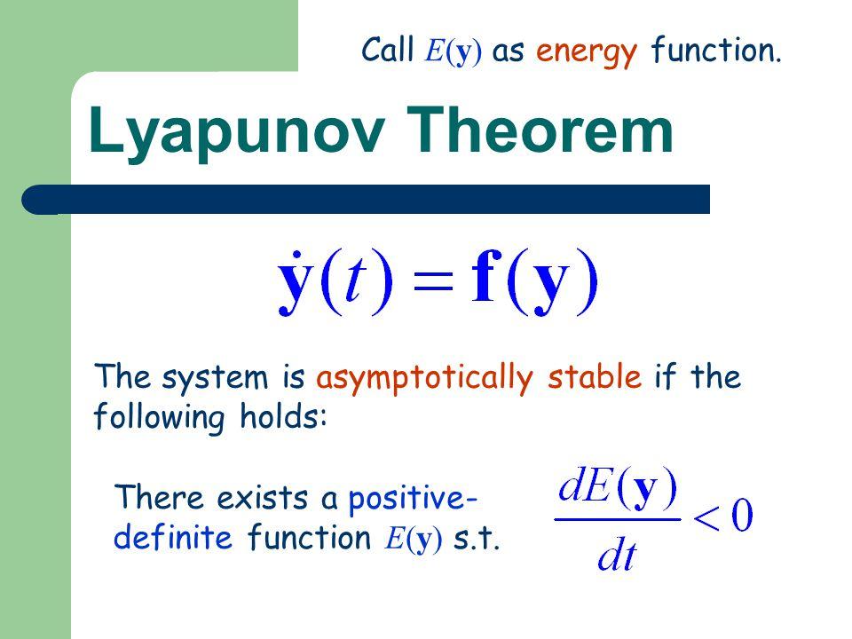 Lyapunov Theorem Call E(y) as energy function.