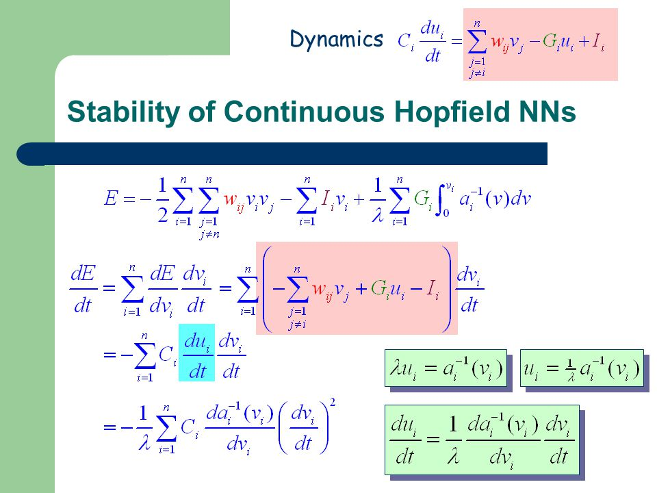 Stability of Continuous Hopfield NNs