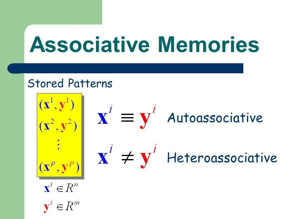 Associative Memories Stored Patterns Autoassociative Heteroassociative