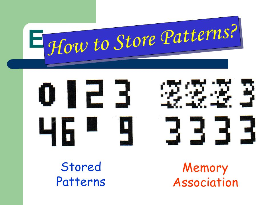 Example How to Store Patterns Stored Patterns Memory Association