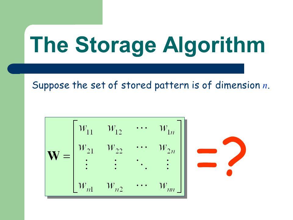 = The Storage Algorithm