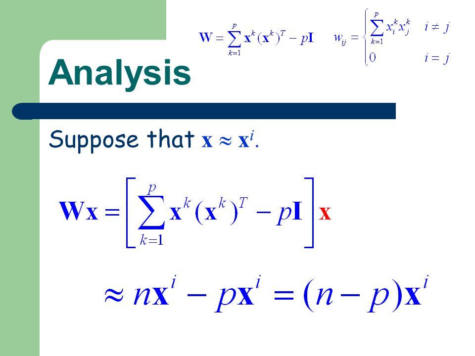 Analysis Suppose that x  xi.