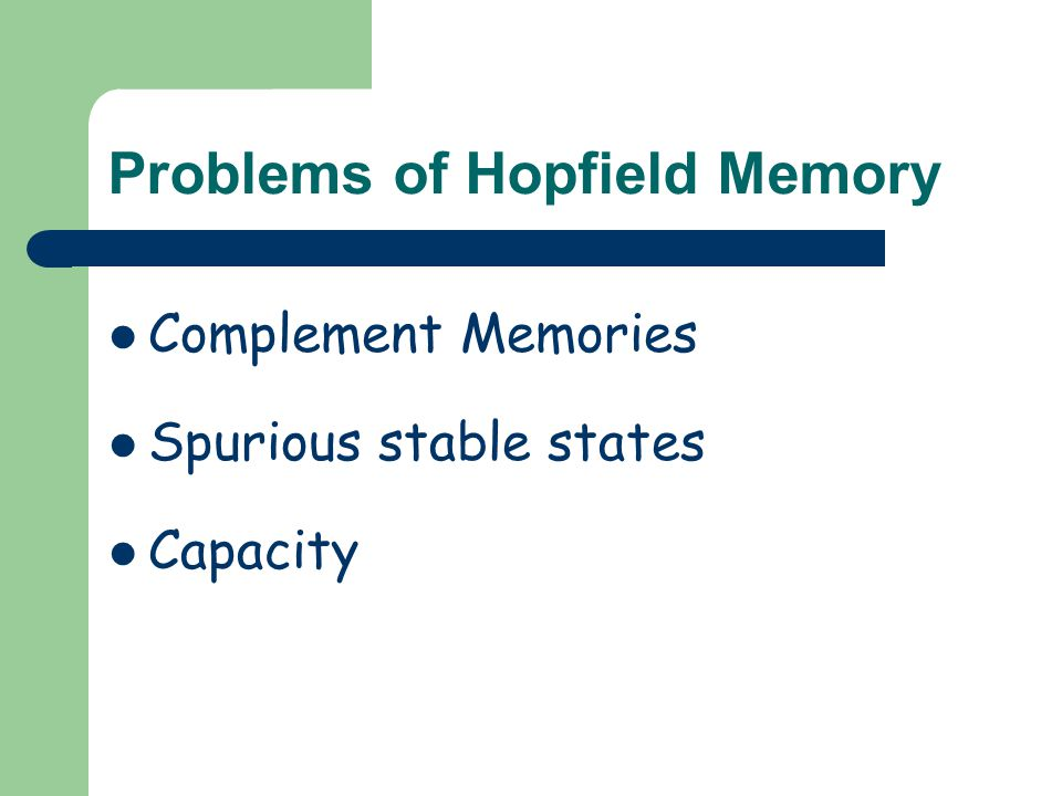 Problems of Hopfield Memory