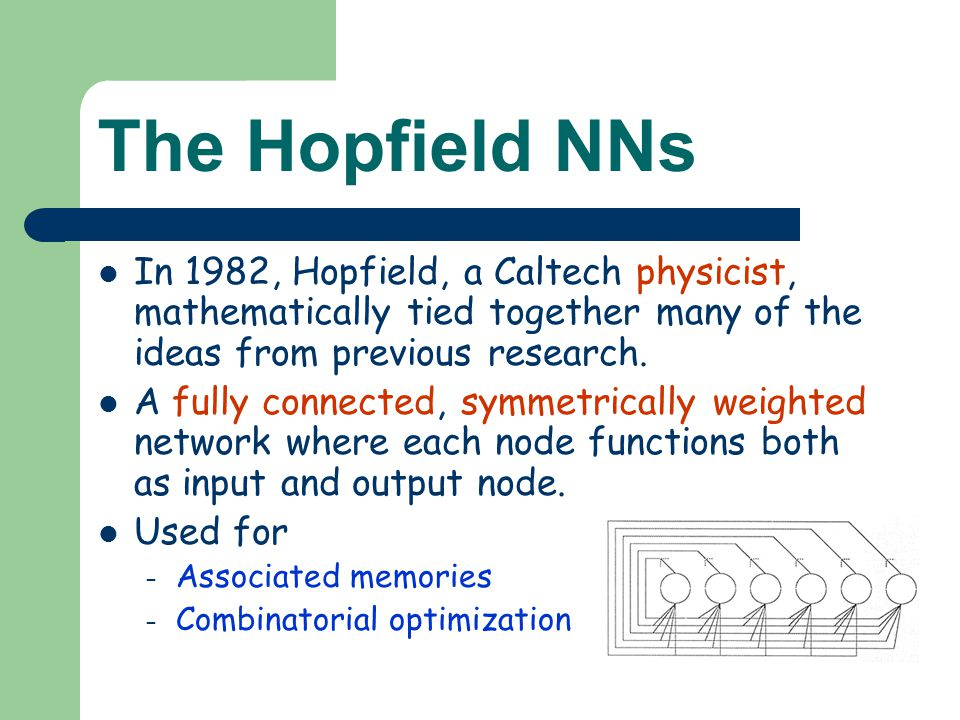 The Hopfield NNs In 1982, Hopfield, a Caltech physicist, mathematically tied together many of the ideas from previous research.
