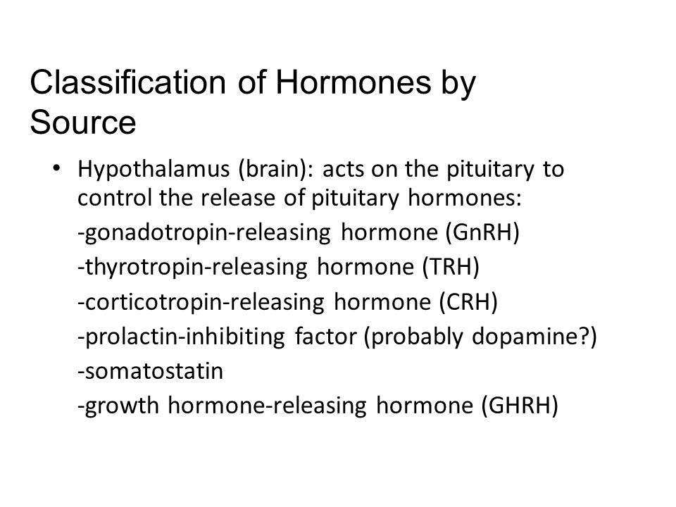 Classification of Hormones by Source