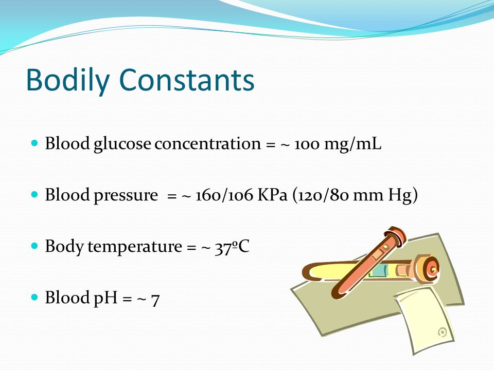 Bodily Constants Blood glucose concentration = ~ 100 mg/mL