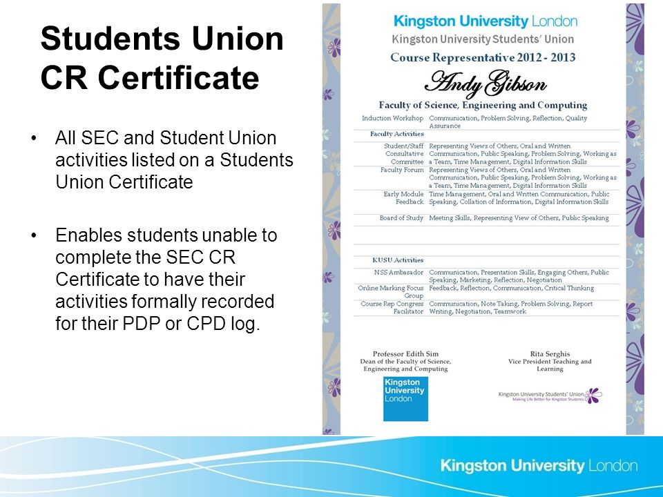 Students Union CR Certificate