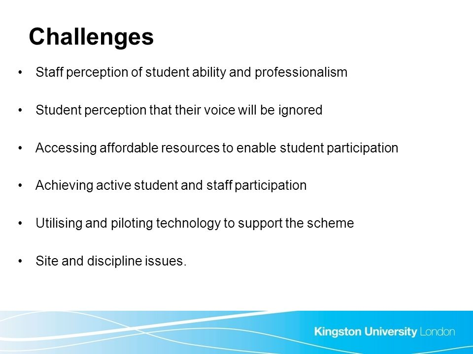 Challenges Staff perception of student ability and professionalism