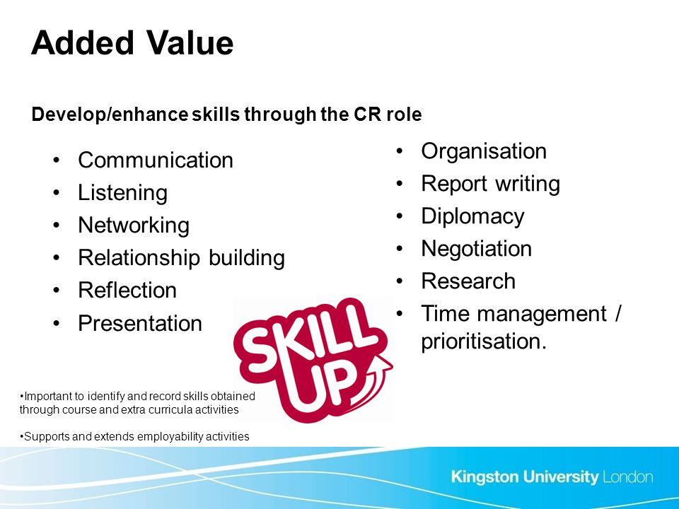 Added Value Develop/enhance skills through the CR role