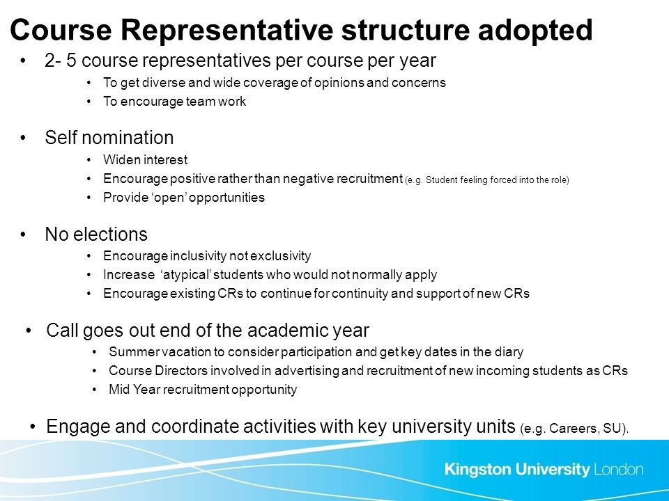 Course Representative structure adopted