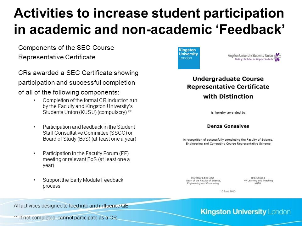 Activities to increase student participation in academic and non-academic 'Feedback'