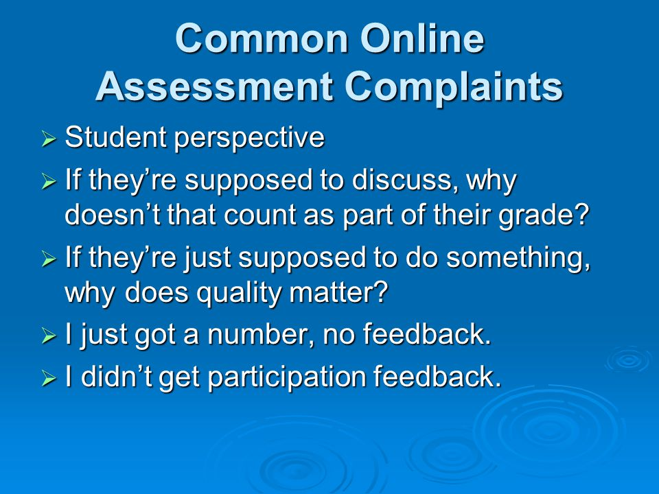 Common Online Assessment Complaints