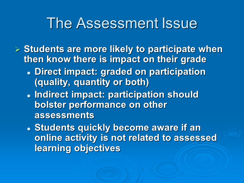 The Assessment Issue Students are more likely to participate when then know there is impact on their grade.