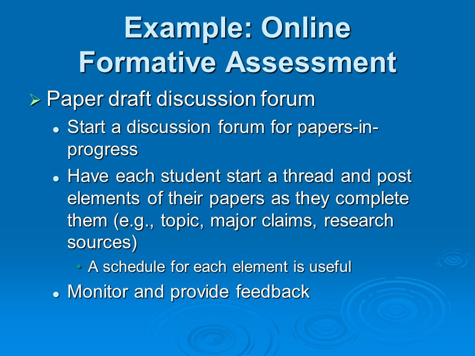 Example: Online Formative Assessment