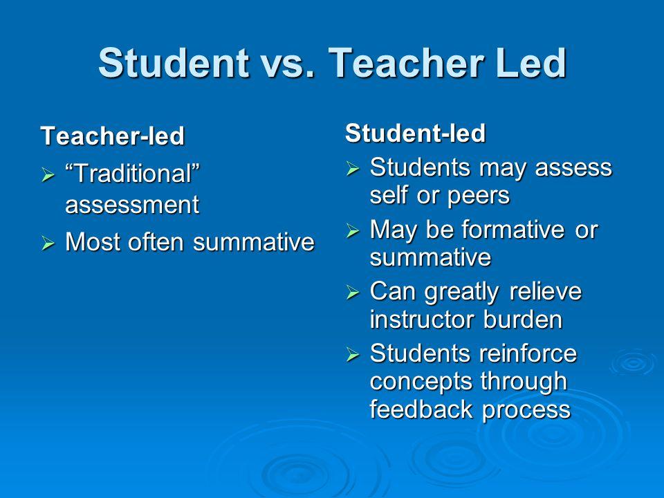 Student vs. Teacher Led Teacher-led Traditional assessment