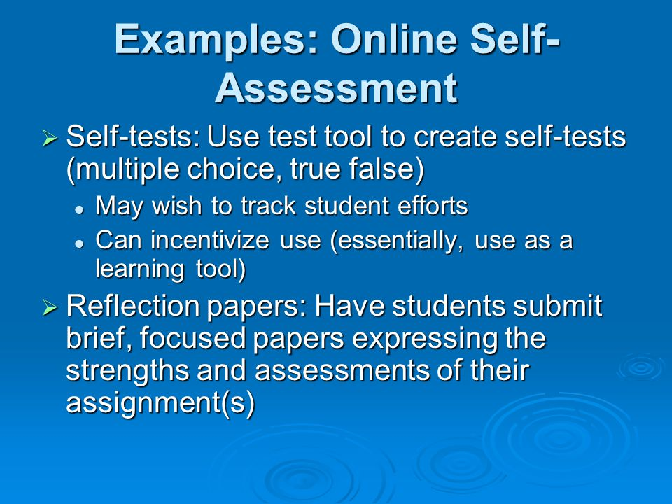 Examples: Online Self-Assessment
