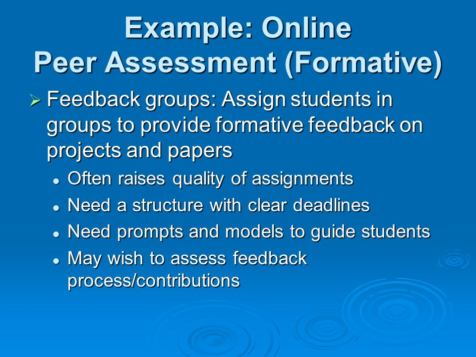 Example: Online Peer Assessment (Formative)